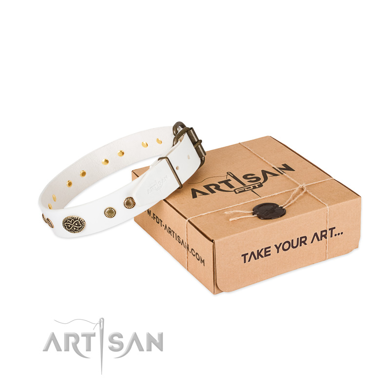Reliable D-ring on full grain leather dog collar for your dog