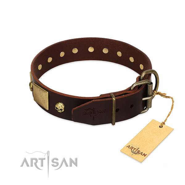 Soft full grain natural leather dog collar with rust-proof studs