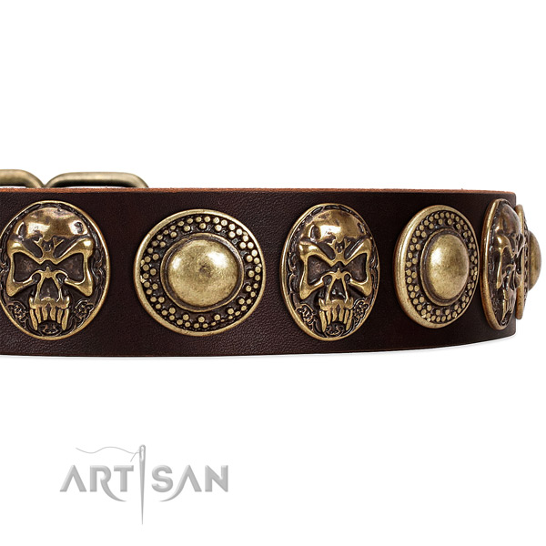 Genuine leather dog collar with embellishments for comfortable wearing