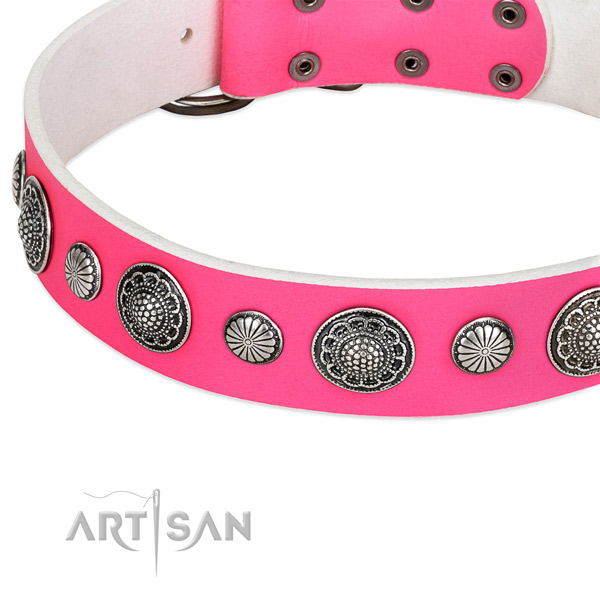 Full grain genuine leather collar with reliable buckle for your stylish pet