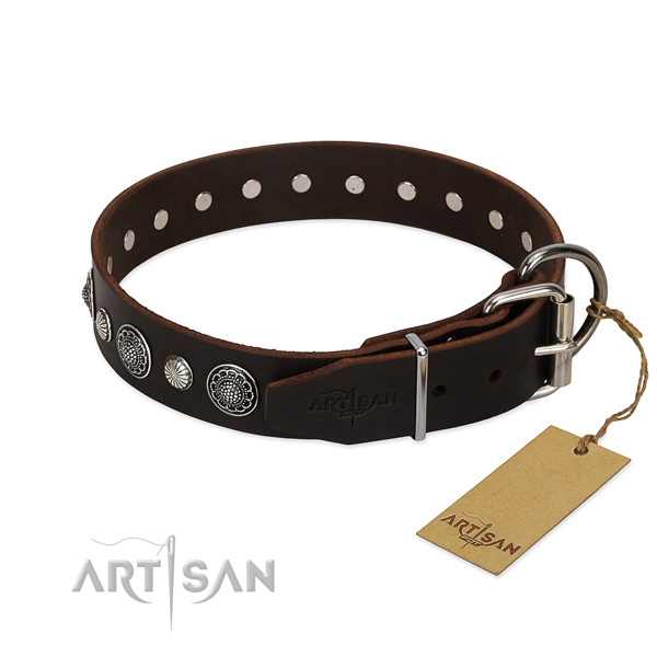 Fine quality full grain genuine leather dog collar with incredible decorations