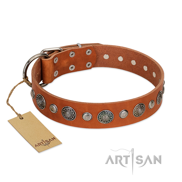 Best quality full grain natural leather dog collar with exquisite adornments