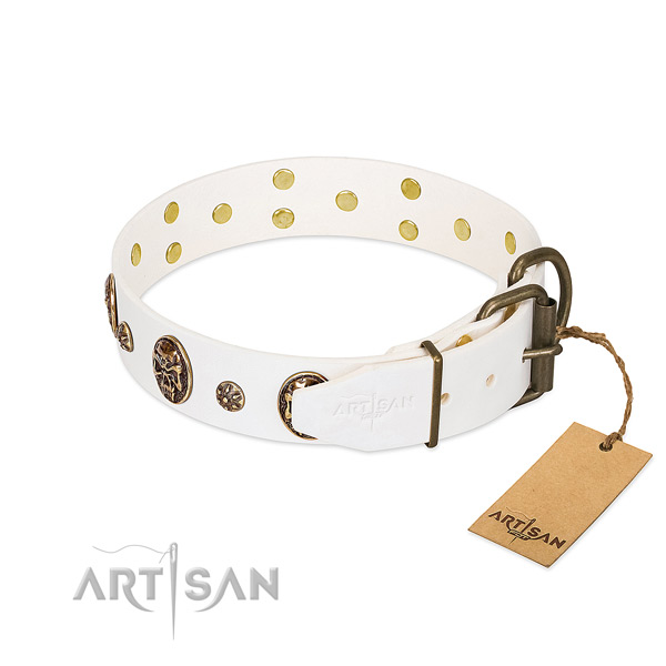 Reliable buckle on full grain natural leather dog collar for your doggie