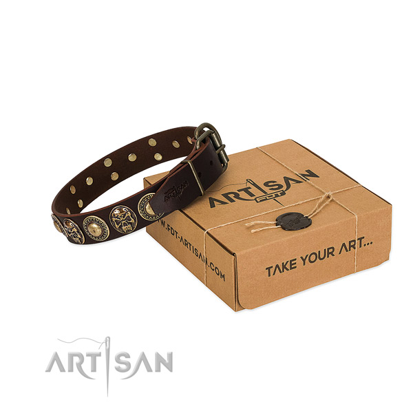 Decorated full grain genuine leather dog collar for stylish walking
