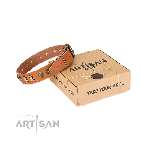Strong adornments on full grain leather dog collar for your doggie