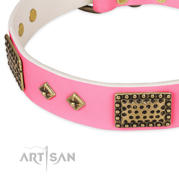 Full grain natural leather dog collar with adornments for comfortable wearing