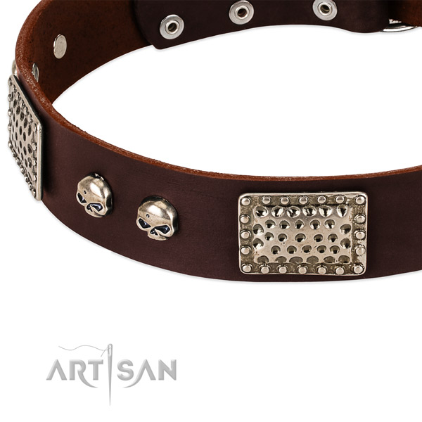 Durable fittings on full grain natural leather dog collar for your four-legged friend