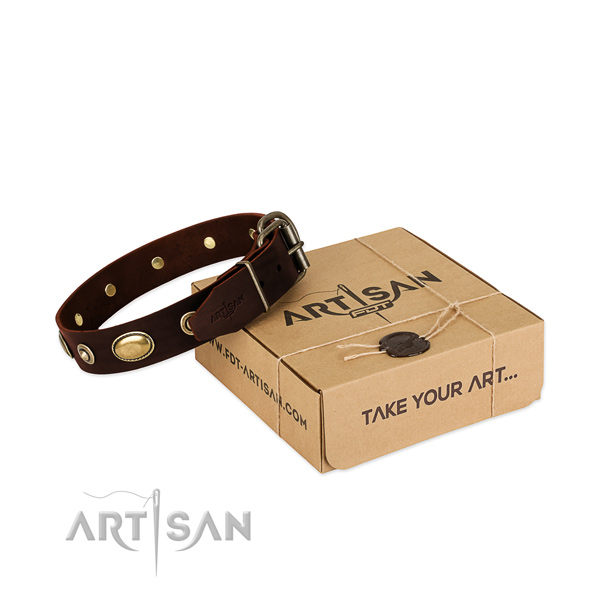 Reliable buckle on full grain genuine leather dog collar for your four-legged friend