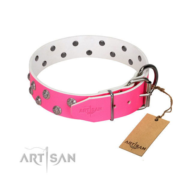 Rust-proof hardware on embellished genuine leather dog collar