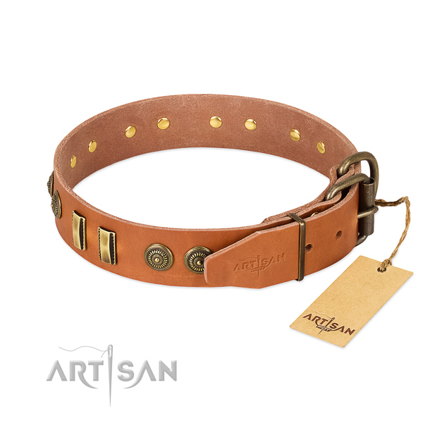 Corrosion resistant fittings on genuine leather dog collar for your doggie
