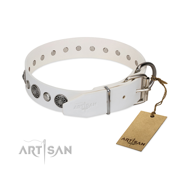 Flexible genuine leather dog collar with corrosion proof D-ring