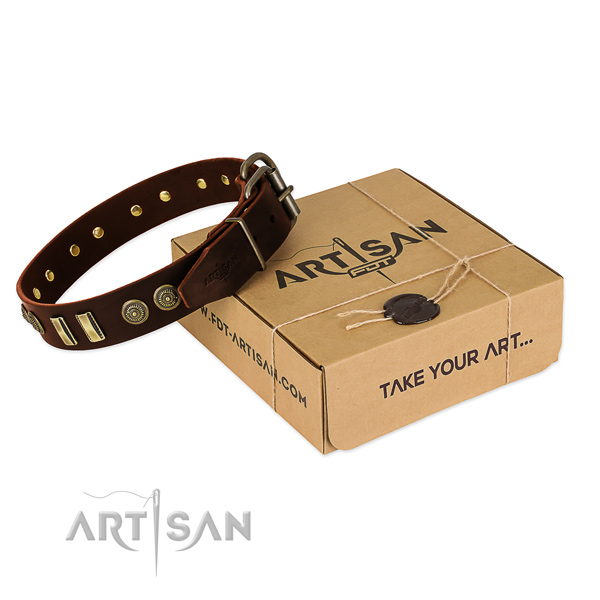 Durable buckle on natural leather dog collar for your doggie