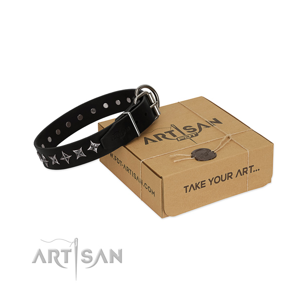 Handy use dog collar of strong genuine leather with embellishments