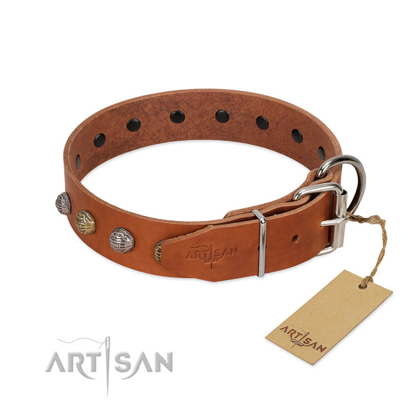 Comfy wearing soft to touch genuine leather dog collar