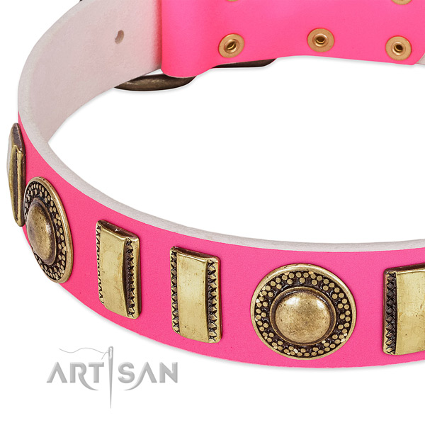 Flexible leather dog collar for your attractive pet