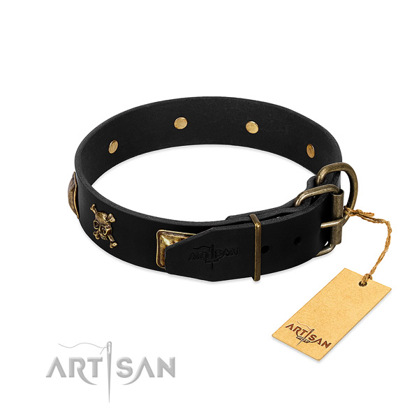 Top notch genuine leather collar with studs for your doggie
