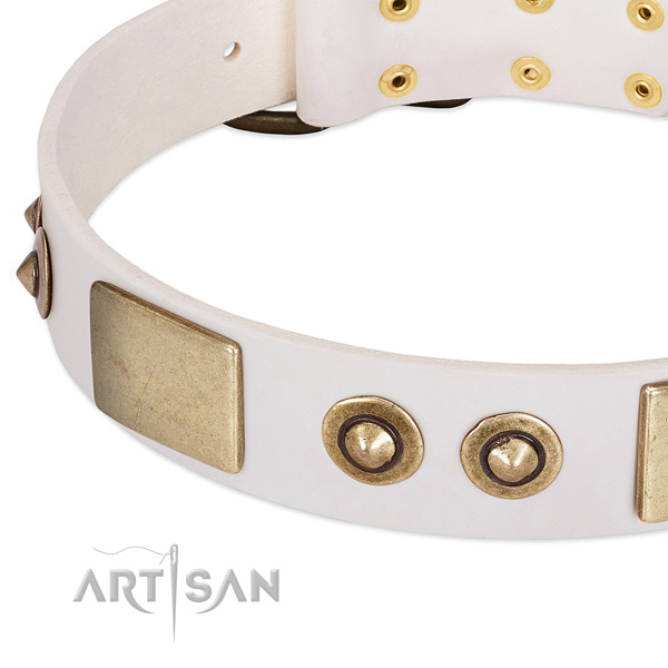 Corrosion resistant buckle on full grain genuine leather dog collar for your dog