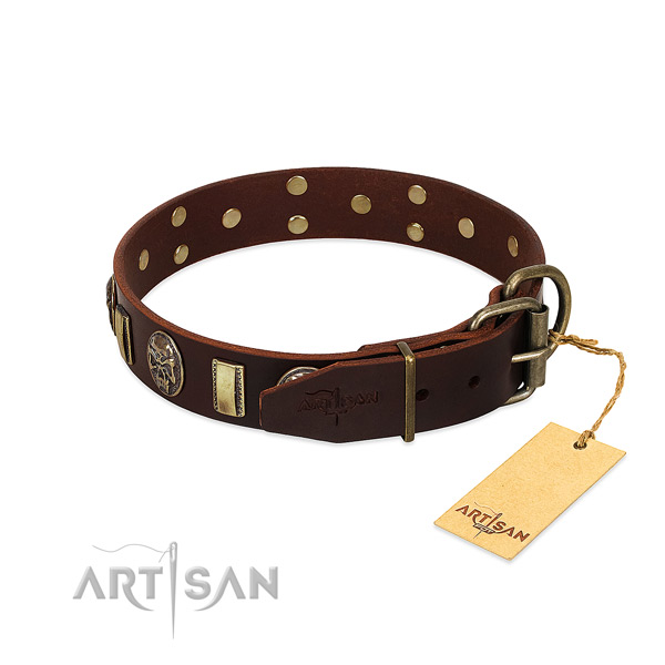 Leather dog collar with corrosion proof D-ring and embellishments
