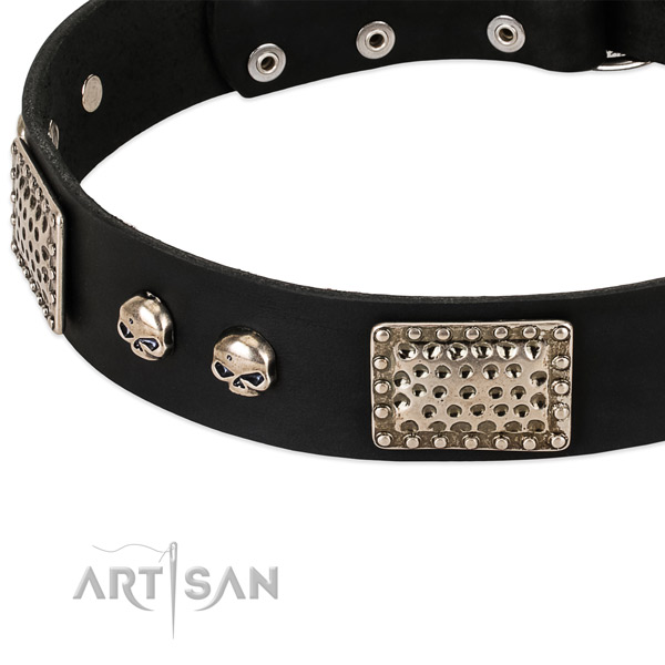 Durable embellishments on full grain genuine leather dog collar for your four-legged friend