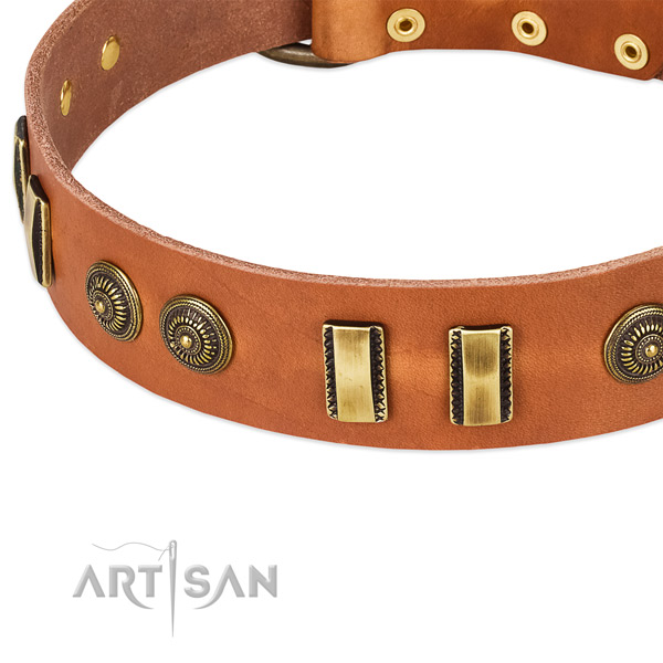Rust-proof D-ring on full grain leather dog collar for your pet