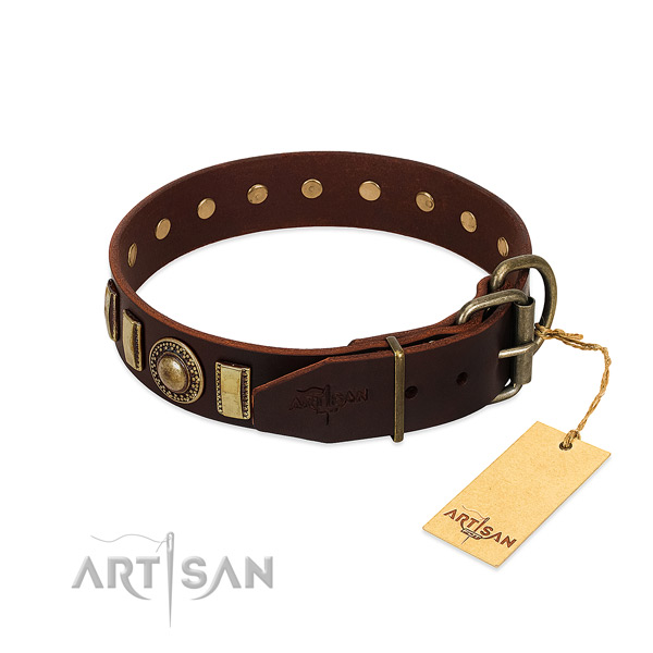 Flexible leather dog collar with decorations