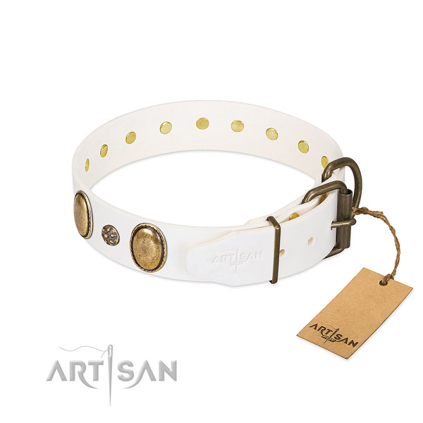 Comfortable wearing high quality full grain natural leather dog collar