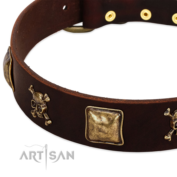 High quality genuine leather dog collar with exquisite studs