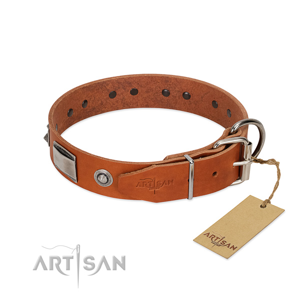 Best quality genuine leather collar with decorations for your pet