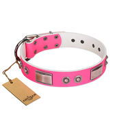 """Lady's Whim"" FDT Artisan Pink Leather Mastiff Collar with Plates and Spiked Studs"