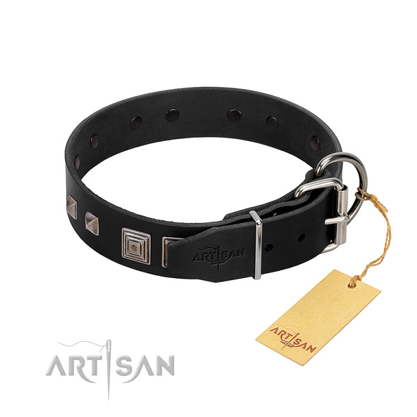 Comfy wearing full grain natural leather dog collar with remarkable decorations