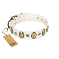 """Milky Lagoon"" FDT Artisan White Leather Mastiff Collar with Vintage Looking Oval and Round Adornments"