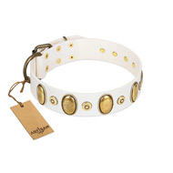 """Pearly Grace"" FDT Artisan White Leather Mastiff Collar with Engraved Ovals and Small Dotted Studs"