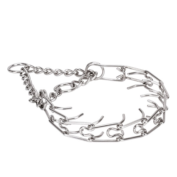 Prong collar of reliable stainless steel for badly behaved pets