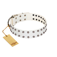 """White Night"" FDT Artisan White Leather Mastiff Collar with Vinatge Silver-like Studs"
