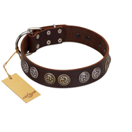 """Treasure Hunter"" FDT Artisan Brown Leather Mastiff Collar with Old-Bronze-like and Silvery Medallions"