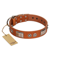 """Pawsy Glossy"" FDT Artisan Exclusive Tan Leather Mastiff Collar 1 1/2 inch (40 mm) wide"