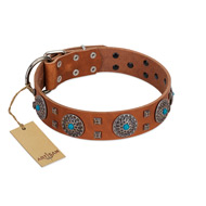"""Blue Sands"" FDT Artisan Tan Leather Mastiff Collar with Silver-like Studs and Round Conchos with Stones"