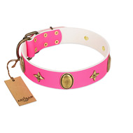 """Fashion Rush"" FDT Artisan Pink Leather Mastiff Collar with Ovals and Stars"