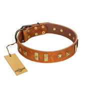 """Sand of Time"" FDT Artisan Tan Leather Mastiff Collar with Old Bronze-like Studs and Plates"