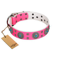 """Pink Delight"" FDT Artisan Pink Leather Mastiff Collar for Everyday Walking"