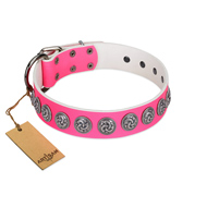 """Pink Garden"" Designer FDT Artisan Pink Leather Mastiff Collar for Stylish Look"