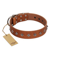 """Broadway"" Handmade FDT Artisan Tan Leather Mastiff Collar with Dotted Pyramids"
