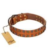 """Terra-cotta"" FDT Artisan Tan Leather Mastiff Collar with Two Rows of Studs"