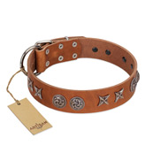"""Brave Spirit"" Handmade FDT Artisan Designer Tan Leather Mastiff Collar with Shields"