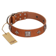 """Lucky Star"" FDT Artisan Tan Leather Mastiff Collar with Silver-Like Embellishments"