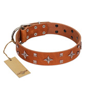 """Tawny Beauty"" FDT Artisan Tan Leather Mastiff Collar Adorned with Stars and Tiny Squares"