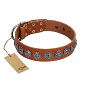 """Velvet Kiss"" Handmade FDT Artisan Tan Leather Mastiff Collar with Vintage Medallions"