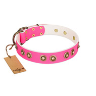 """Bright Delight"" Pink FDT Artisan Leather Mastiff Collar with Large Old Bronze-like Plated Studs"