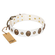 """Fatal Beauty"" FDT Artisan White Leather Mastiff Collar with Old Bronze-like Studs and Oval Brooches"
