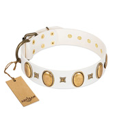 """Chichi Pearl"" Designer Handmade FDT Artisan White Leather Mastiff Collar with Ovals and Studs"